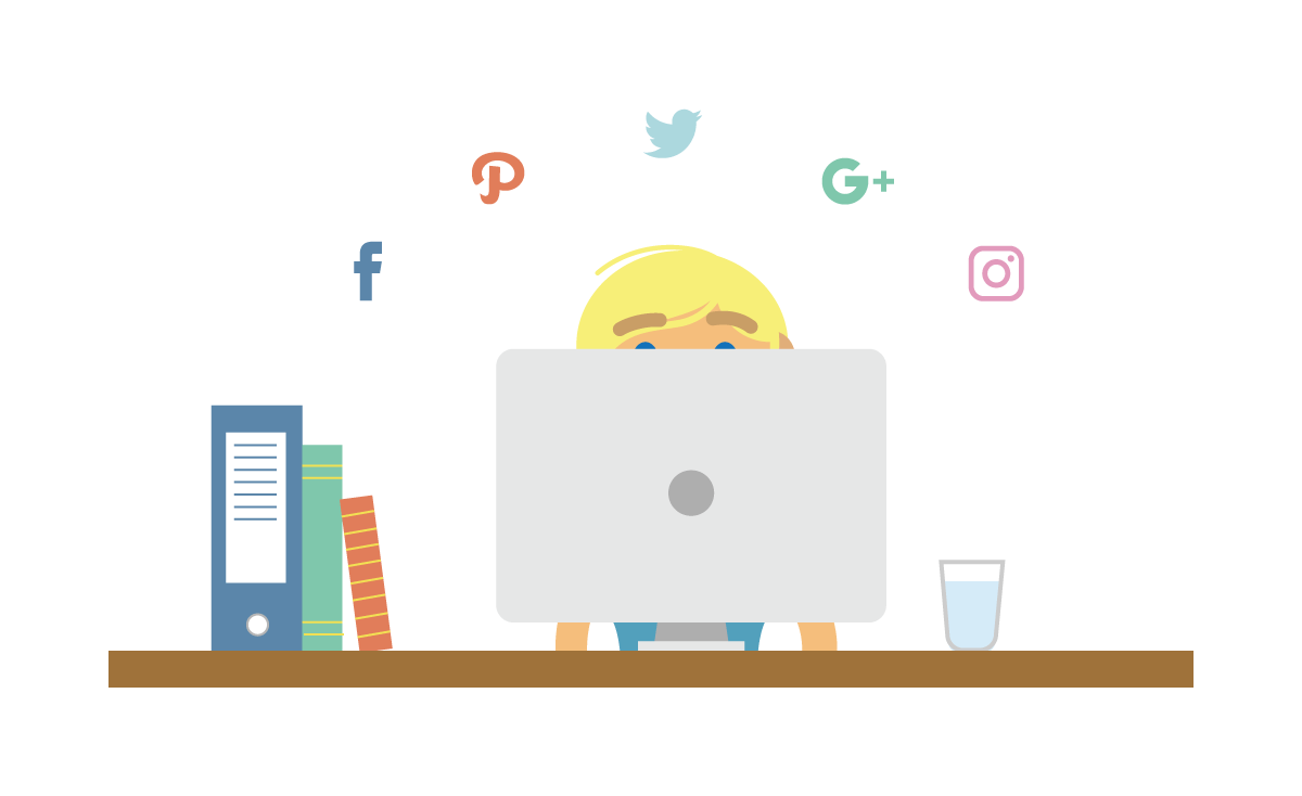 Social media consultancy illustration showing someone sitting begind a computer, at a desk, with social media icons above their head.